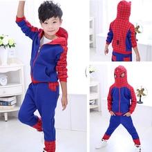 2016 Hot Seling Spiderman Clothes Boys 2pcs Sets Hoodie+Pants Children Autumn Cotton Spider Man Suit Baby Casual Wear Kids Roupa