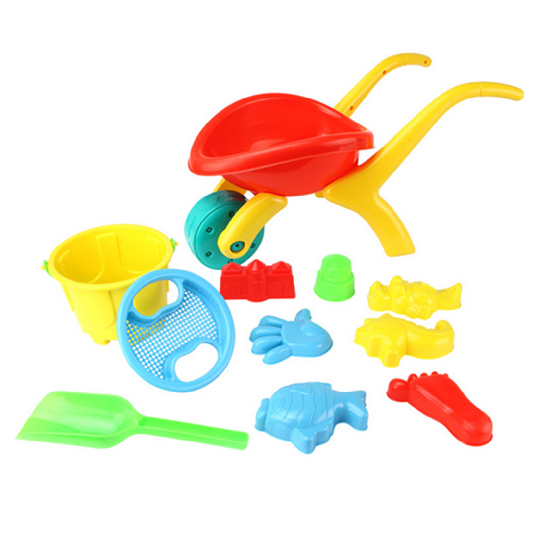 12 In 1 Large Beach Toy Cart Set Plastic Outdoor Beach Play Toys For Children Gifts   Random Color