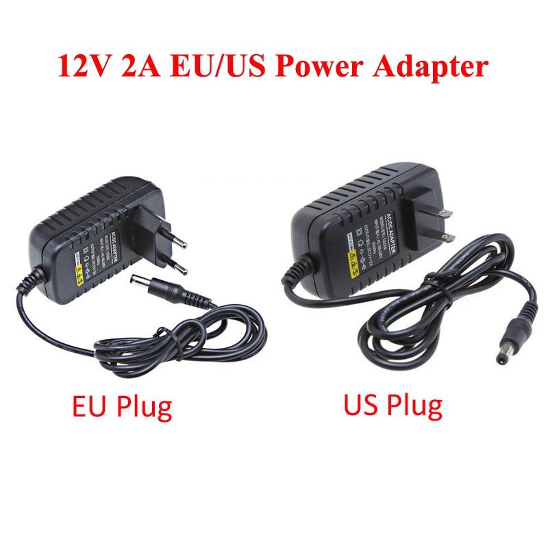 EU 12V 2A Power Supply AC 100-240V To DC Adapter Plug For CCTV Camera / IP Camera Surveillance Accessories digoo dg hlt ac 100 240v 12v 2a converter adapter or mouse 24w power supply for digoo dg xme nvr ip camera accessories