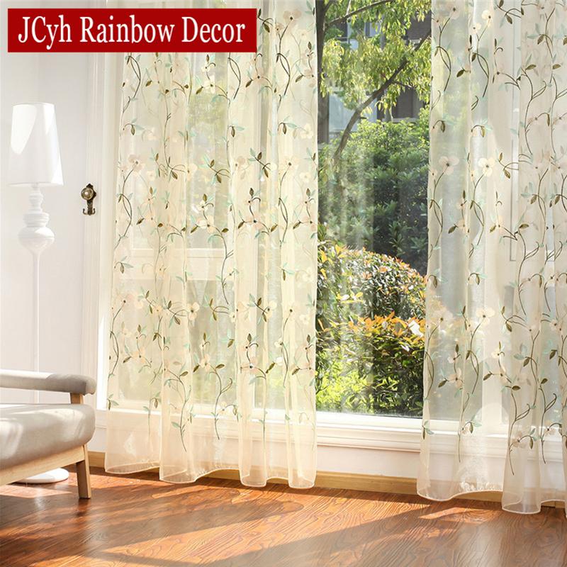 floral bordado escarpado tulle cortinas para la sala de las nias jacquard pastorales cortinas cortina de