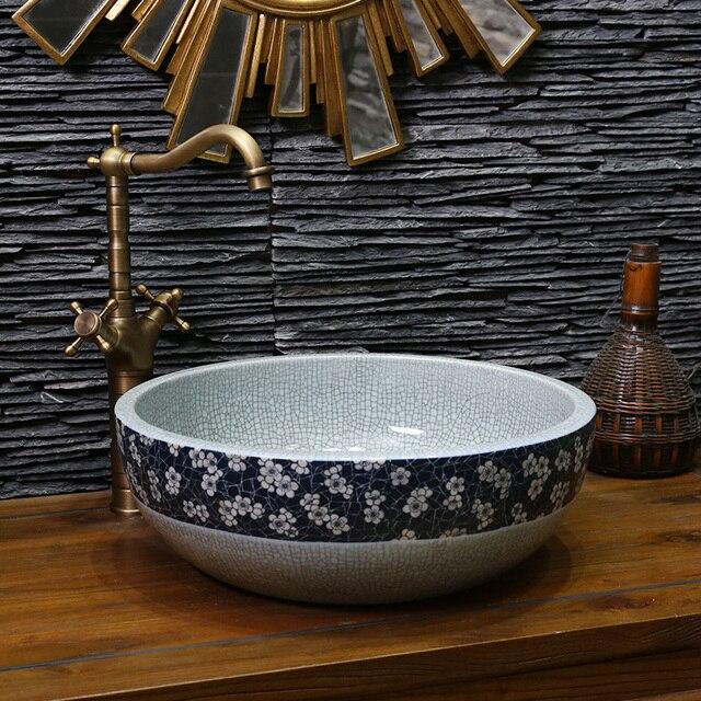 Blau Europa Vintage Stil Kunst Chinesische Aufsatzbecken Waschbecken ...