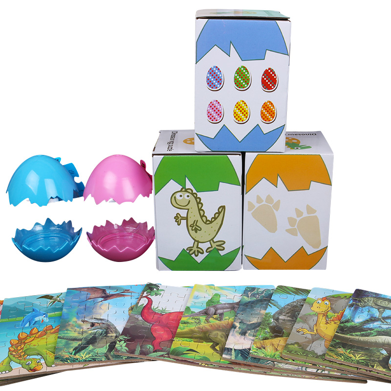 2019 new wooden toy creative colorful dinosaur egg puzzle 60 piece of cartoon cognitive jigsaw for children