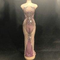 Фиолетовое обтягивающее длинное платье со стразами, певица в ночном клубе, сценический карнавальный наряд вечерние костюмы для выступлени