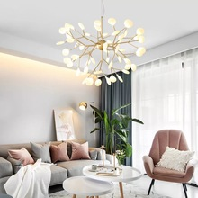 Nordic Firefly AC 220V Retro Modern LED Chandelier Simple Glossy G4 Indoor Living Room Lighting Kitchen Restaurant