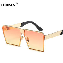 LEIDISEN 2018 Vintage Colored Gradient Sunglass Women Big Sqaure Gold Frame Sun Glasses For Women Female Shades Orange Yellow(China)