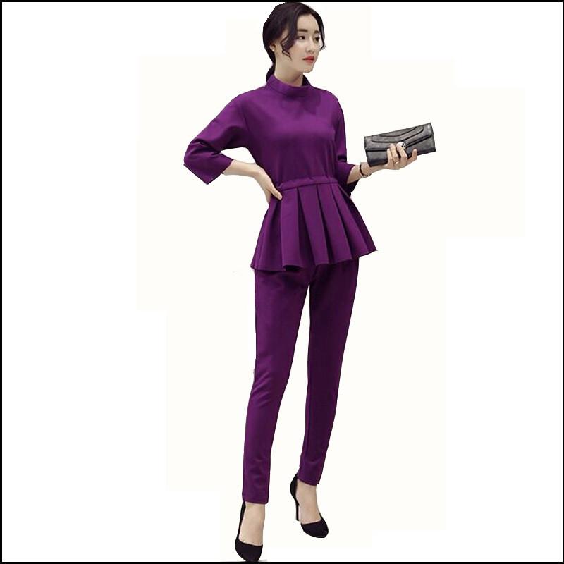 Ladies-Pant-Suits-2016-Spring-Autumn-O-Neck-Ruffles-Female-Business-Women-Evening-Suit-Elegant-Pants (1)