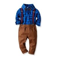 Boy's Clothing Set 2 10 Y Spring Autumn Plaid Shirt & Elastic Long Bib Pant & Bow Tie Kids Cotton Fashion Gentleman Shirt Suits