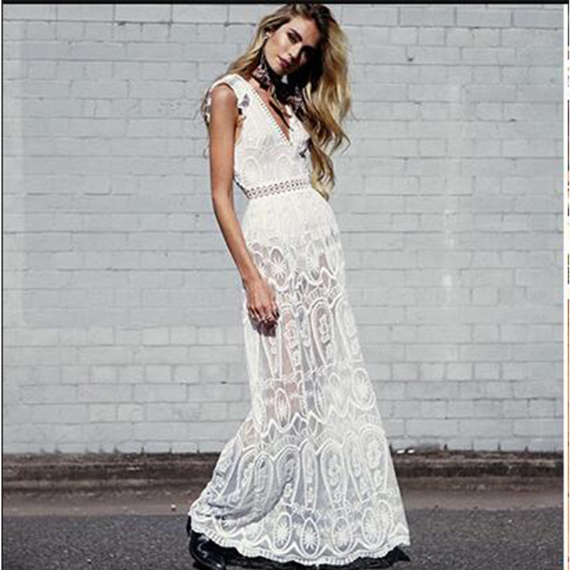 <font><b>2018</b></font> Summer Women Lace V-neck Dress <font><b>Ladies</b></font> Plus Size White Sleeveless Beach Dress Long Party Dresses vestidos Z203 image