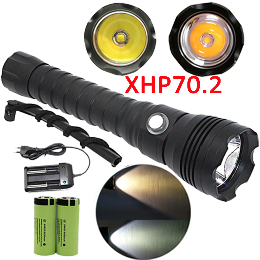 XHP70.2 LED Diving Flashlight Underwater XHP70 Torch Linterna Waterproof Lamp White Yellow Light 26650 Battery +Charger