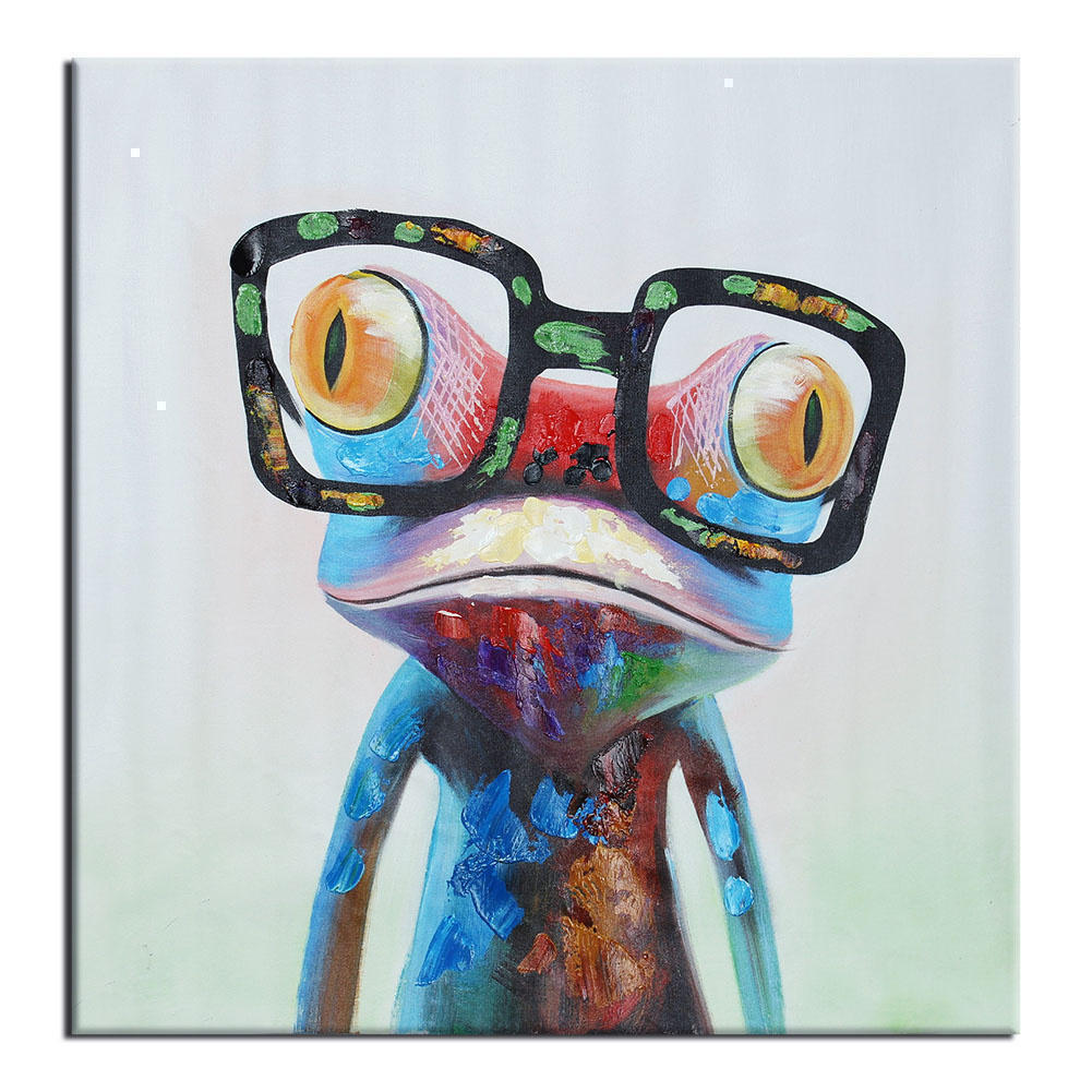 Popular canvas frog with glasses buy cheap canvas frog for Abstract animal paintings