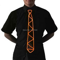 Orange Color Flashing Cute Funny NEW Design LED Tie Glowing EL Wire Tie Neon Light Tie