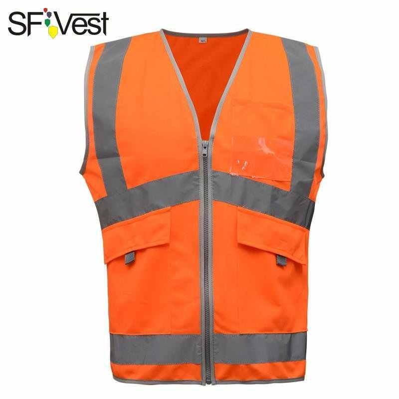 SFvest New Arrival  hi vis orange /yellow safety reflective vest mesh reflective vest breathable logo printing free shipping