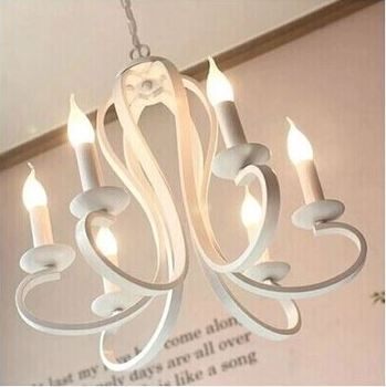 Korean chandelier living room bedroom dining room lamp personality wrought iron chandelier American candle chandelier