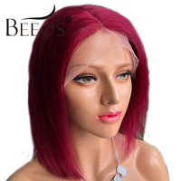 Beeos Lace Front Wig Red Short Human Hair Bob Wig For Women 130% Pre Plucked Human Peruvian Hair Remy Straight