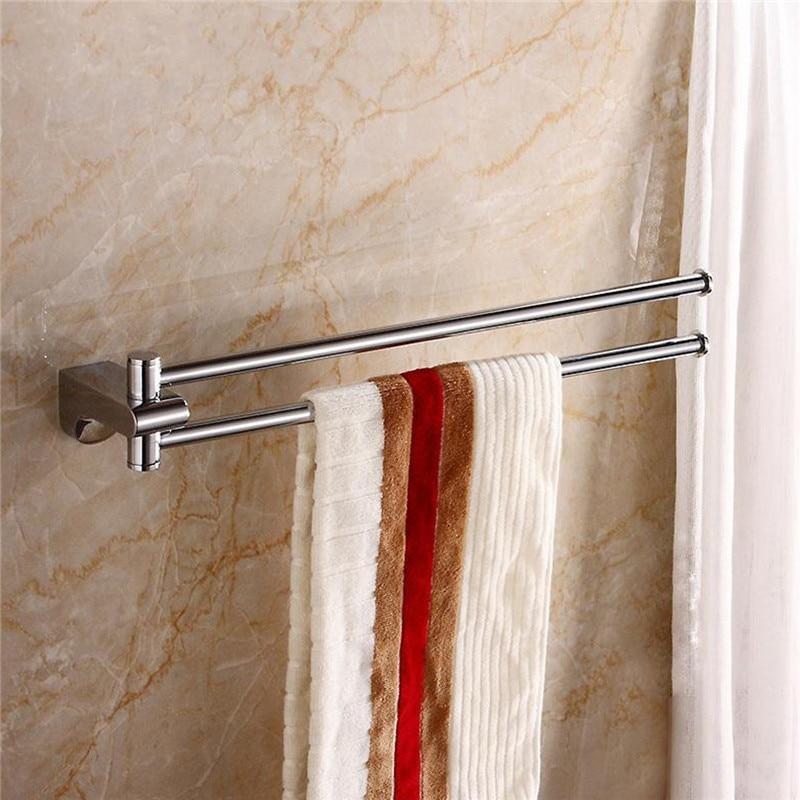 Brass Swivel Double Towel Bar Hanger Shower Rail Storage Racks Wall