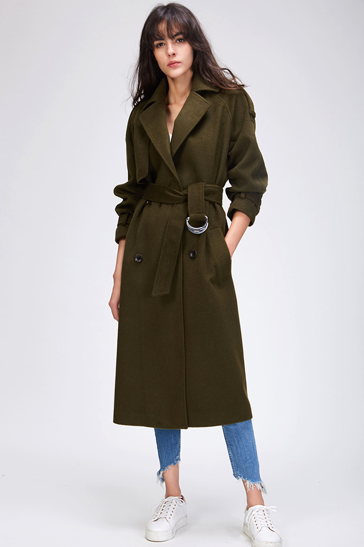 JAZZEVAR 19 Autumn winter New Women's Casual wool blend trench coat oversize Double Breasted X-Long coat with belt 860504 20