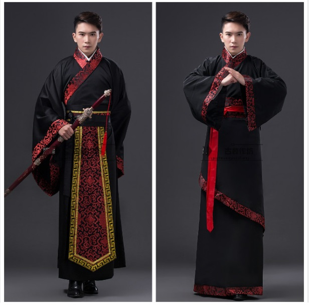 Free Shipping 2016 new Black traditional National tang suit Ancient Chinese Hanfu Clothing men's Costume Hanfu Men male