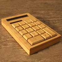 New Artis Large Chunky Natural Handmade Crafted Bamboo Solar Power Calculator 12 Digits Display XXM