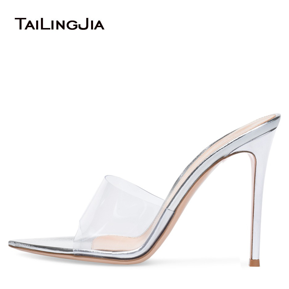 0f6cfd146 Stylish Open Pointed Toe High Heel Mules Women Heeled Clear Sandals Ladies  Summer Transparent Shoes Party Evening Dress Heels