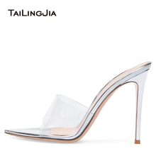 Stylish Open Pointed Toe High Heel Mules Women Heeled Clear Sandals Ladies Summer Transparent Shoes Party Evening Dress Heels