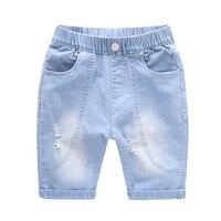Blue Boys Jean Shorts 2019 Summer Brand Design broken hole Kids Denim Shorts For Teen Boys 2 8Years Wear Casual Children Clothes
