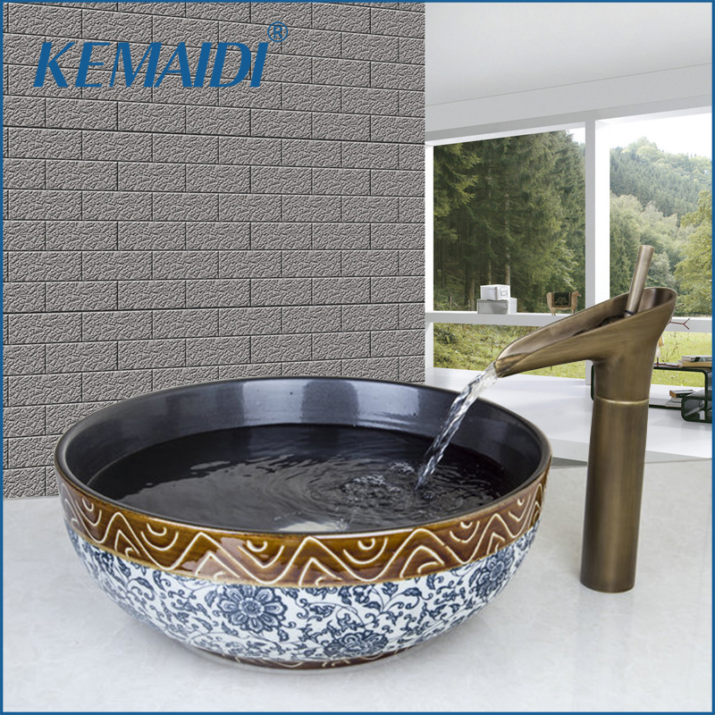 KEMAIDI New Ross Antique Brass Basin Tap+Round Hand-Painted Washbasin Lavatory Cerimic  Sink Bath Combine Brass Tap Mixer FaucetKEMAIDI New Ross Antique Brass Basin Tap+Round Hand-Painted Washbasin Lavatory Cerimic  Sink Bath Combine Brass Tap Mixer Faucet