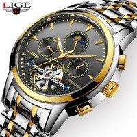 LIGE мужские часы топ Элитный бренд автоматические механические часы мужские Бизнес полный Сталь Водонепроницаемый спортивные часы Relogio