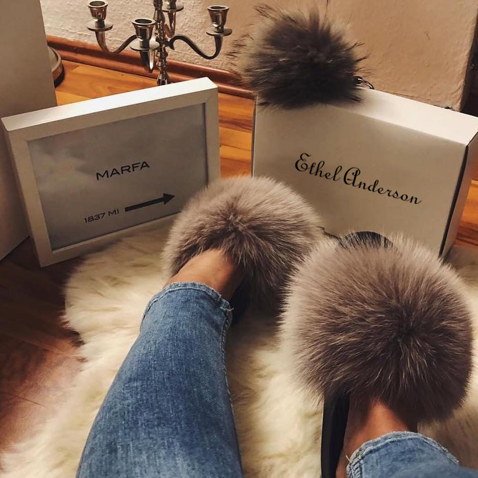 ETHEL ANERSON Real Raccoon Fur Slippers Women's Furry Indoor Slides Flip Flops Casual Beach Sandals Vogue Plush Shoes