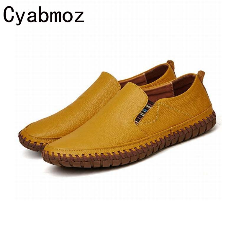 New 2018 Handmade Genuine leather Sewing Men Shoes Cow Leather British Casual Shoes  Breathable Slip-on Loafers Moccasins top brand high quality genuine leather casual men shoes cow suede comfortable loafers soft breathable shoes men flats warm