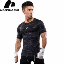 NANSHA Brand Clothing Gyms Compression T Shirt Workout Crossfit T Shirt Fitness Slim Tights Casual Shirts