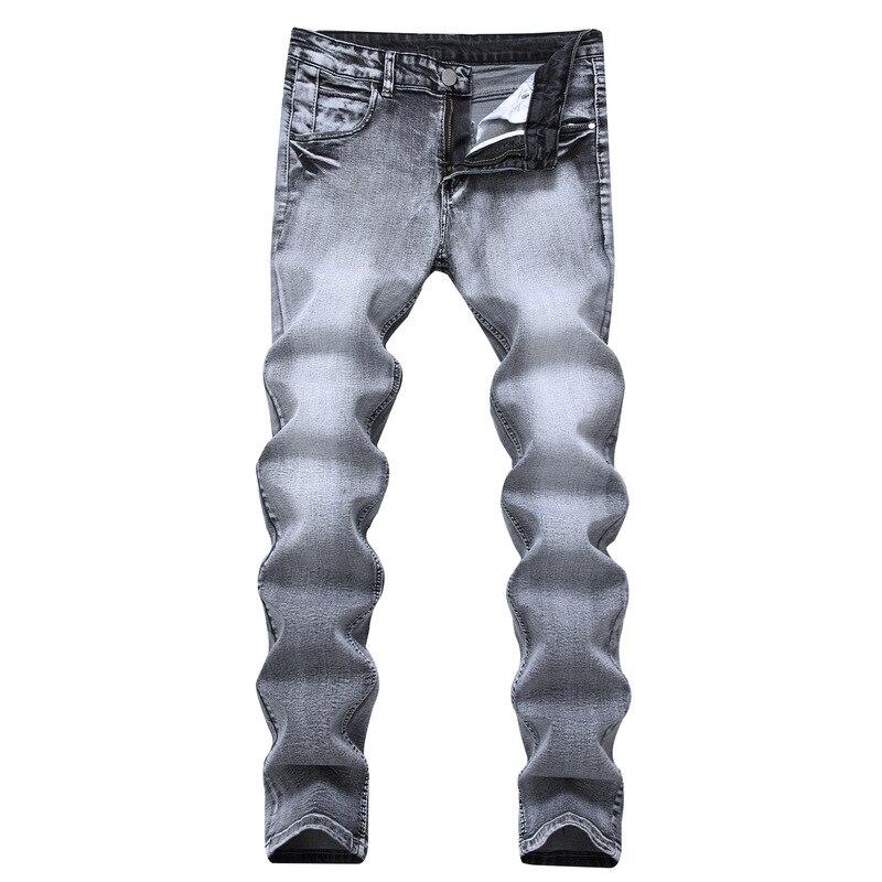 2019 Men's Jeans Vintage Grey Slim Fit Straight Denim Jeans Male Casual Long Pants Retro Trousers Brand Biker Jeans Dsq Size 42