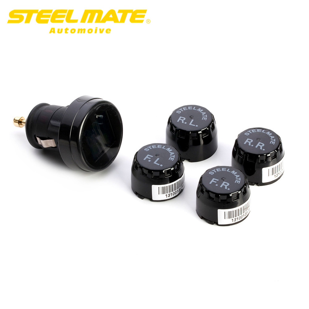 Steelmate 2017 TP-74B Car TPMS DIY Tire Pressure Monitor System Alarm LCD Display with 4 External Sensors hot sale steel mate steelmate tp 03s tpms tire pressure monitoring system with lcd display cigarette plug 4 valve cap external sensors steel mate