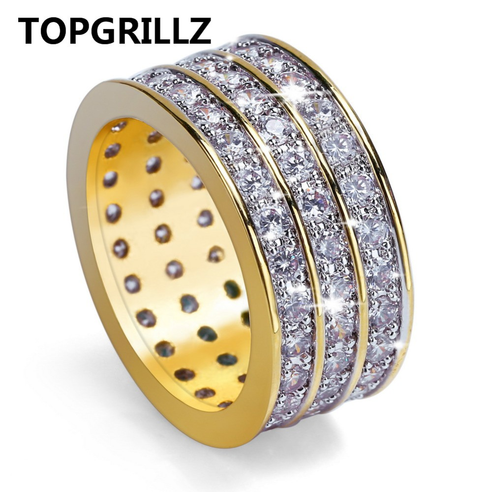 TOPGRILLZ New Style Hip Hop Rock Micro Pave Cubic Zircon Ring Full Iced Out Bling Copper Gold Color Rings For Male Jewelry punk style solid color hollow out ring for women