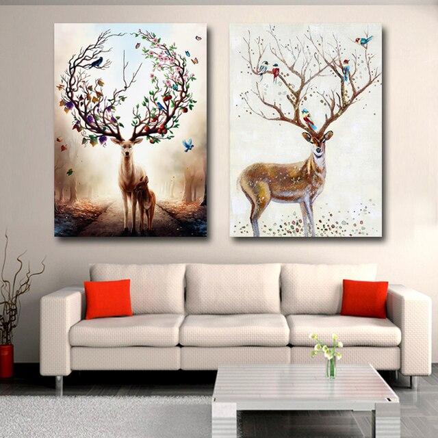 animal de bande dessin e prune cerf nordique style photo toile peinture dessin pour salon. Black Bedroom Furniture Sets. Home Design Ideas