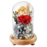 17cm Free Shipping Red Pink Rose Glass Vase Eternal Preserved Fresh Flower Springtime Valentine Birthday Christmas