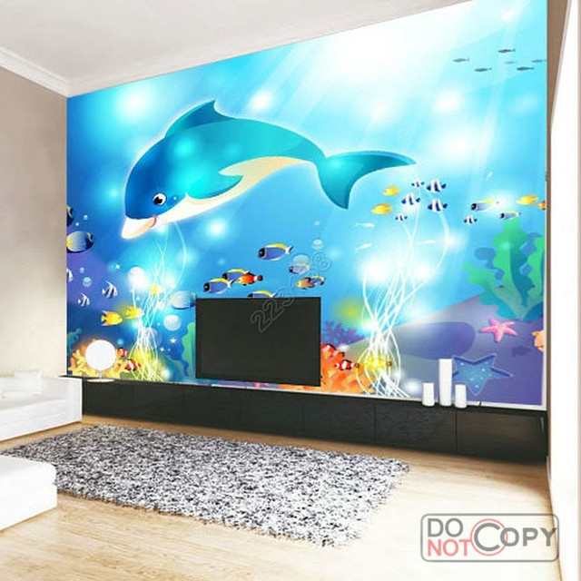 Kids Bedroom Background aliexpress : buy modern home deco fashion 3d stereo dolphin