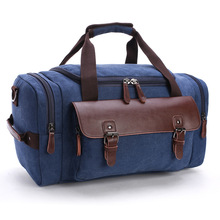 купить High Quality Canvas Leather Men Travel Bags Carry On Luggage Bags Men Duffel Bags Travel Tote Large Weekend Bag Overnight дешево