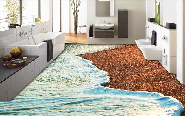 photo 3d floor tiles wallpaper shells on the beach 3d floor painting mural bathroom living room - Living Room Floor Tiles