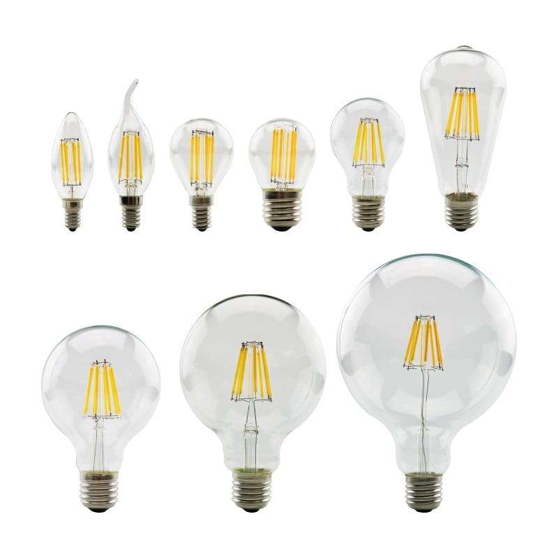 LED Filament Bulb E27 Retro Edison Lamp 220V E14 Vintage Candle Light Globe Chandelier Lighting Energy Saving Glass Ball Bulb