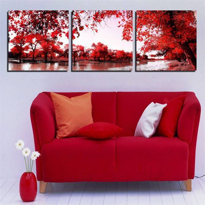 2015 High Quality 3 Piece Wall Art Red Tree Lake Scenery Oil Painting On Canvas Print Colorful Abstract Painting Pictures Decor