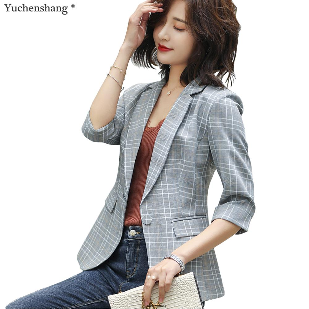 Women Plaid Jacket For Summer Wear Female Casual Style Breathable Coat Half Sleeve Blazer Tops Outwear