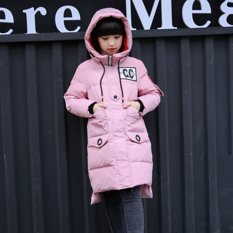 HSSCZL Girls Down jackets Winter 2017 Brand girl down coat Hooded collar Long Style Letter child kids outerwear overcoat parkas a15 girls down jacket 2017 new cold winter thick fur hooded long parkas big girl down jakcet coat teens outerwear overcoat 12 14