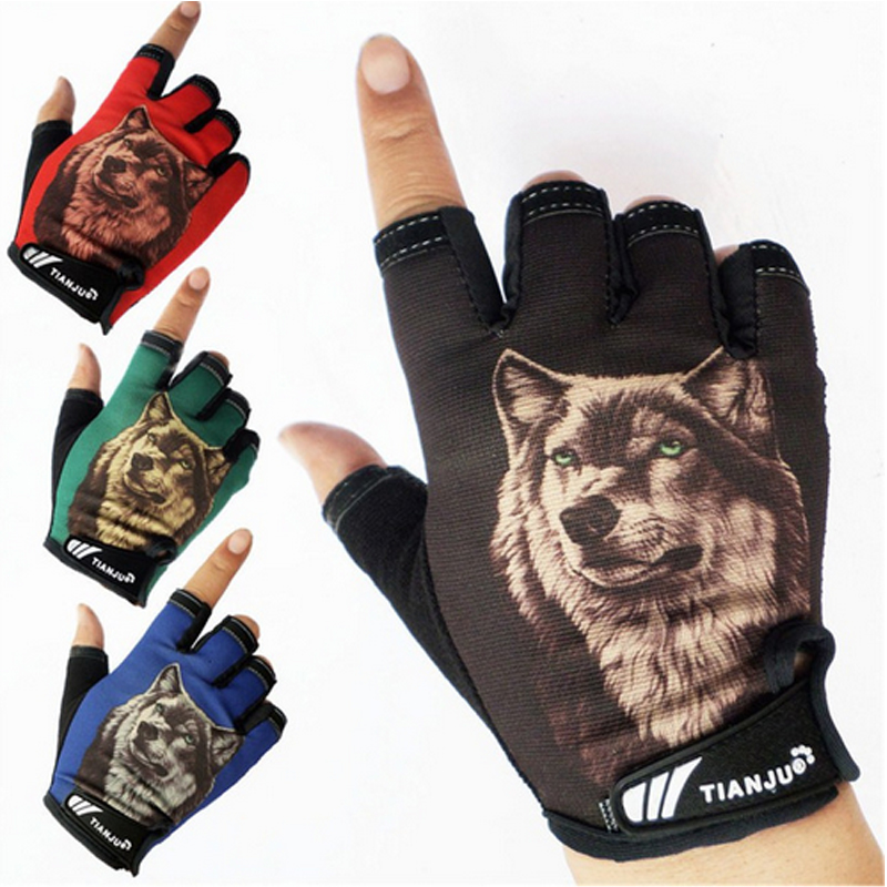 LongKeeper Men's Semi-finger Wolf Pattern Tactical Gloves Half Finger Slip-resistant Driving Gloves Luvas De Inverno