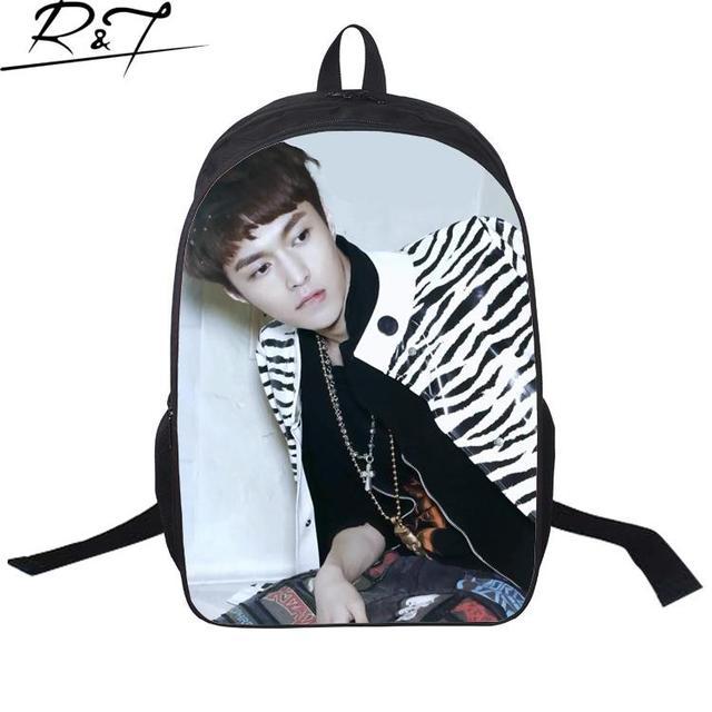 Moda 2016 impresión coreana star exo skyland turismo mochilas mochila informal mochilas mochilas escolares para adolescentes hombre