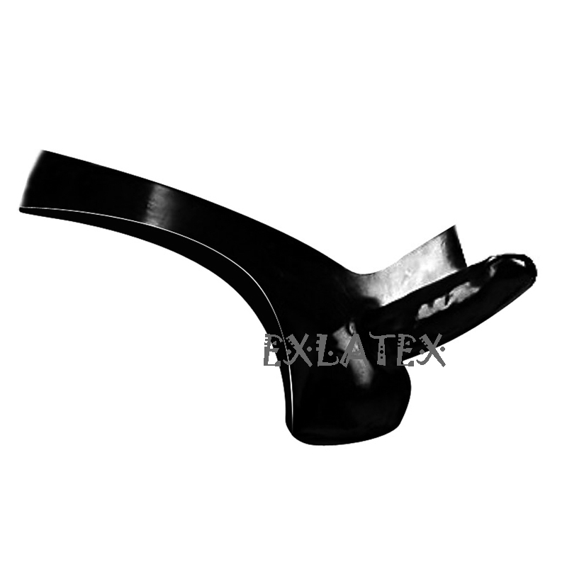 Latex Panties Men String Erotic Underwear Black Latex Rubber G-String Underwear with Cock and Ball Sheath Fetish Male Underwear