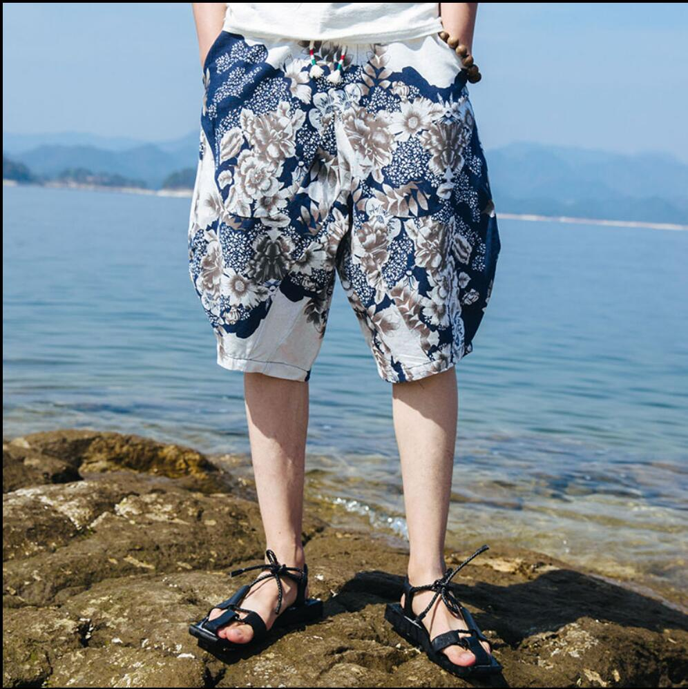 M-5XL 2017 New Knee-length linen shorts men summer tide thin beach shots loose plus size print capris fluid harem Shorts