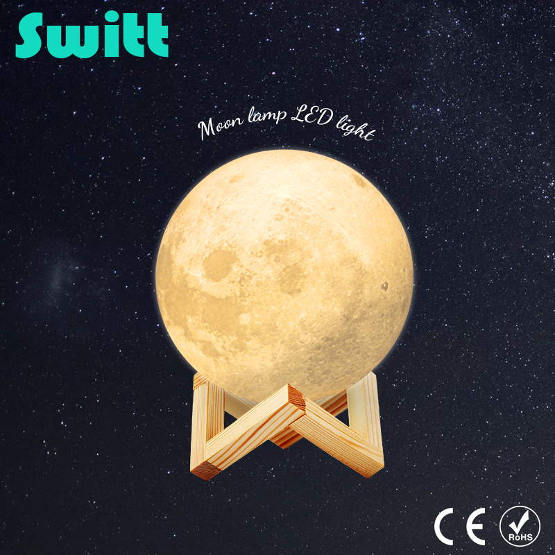 Night Light 3D Moon Light Lamp 2 Color Change Touch Switch 15CM 18CM 20CM Desk Touch Creativity For Living Room Bedroom magnetic floating levitation 3d print moon lamp led night light 2 color auto change moon light home decor creative birthday gift