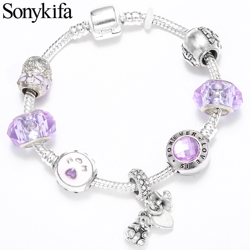 Sonykifa Dropshipping Purple crystal Charm Bracelets Fit Original for Women Snake Chain Charm Pandora Bracelets DIY Jewelry Gift(China)