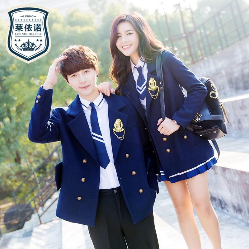 Brand LEHNO British School Uniforms Fashion Boys&Girls Students Suits High Quality Woolen Coat 4pcs Sets