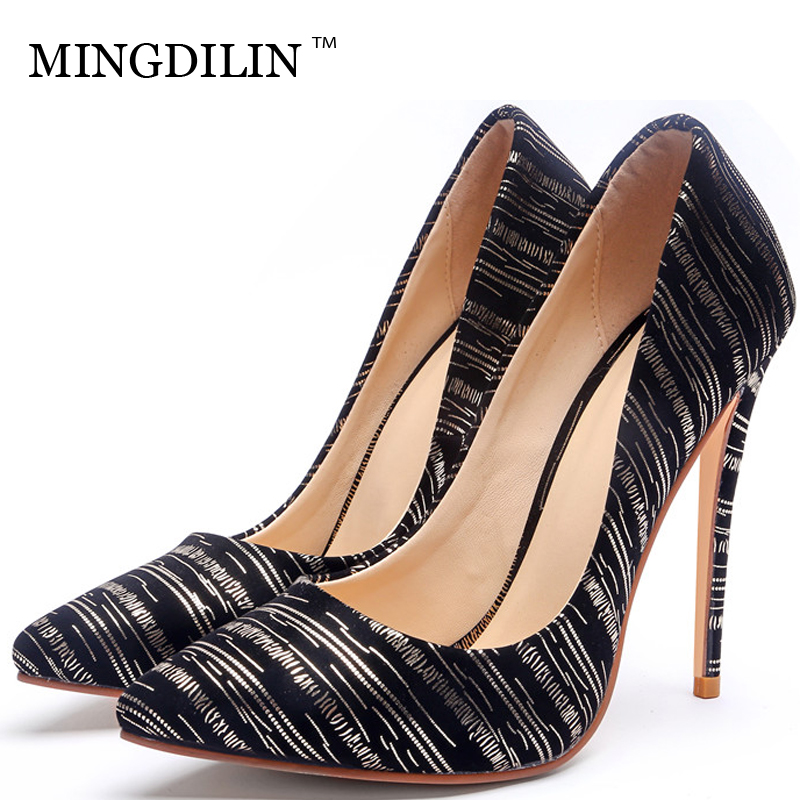 MINGDILIN Sexy Women's High Heels Shoes Silver Golden Woman Heel Shoes Plus Size Pointed Toe Wedding Party Pumps Stiletto Stripe цена